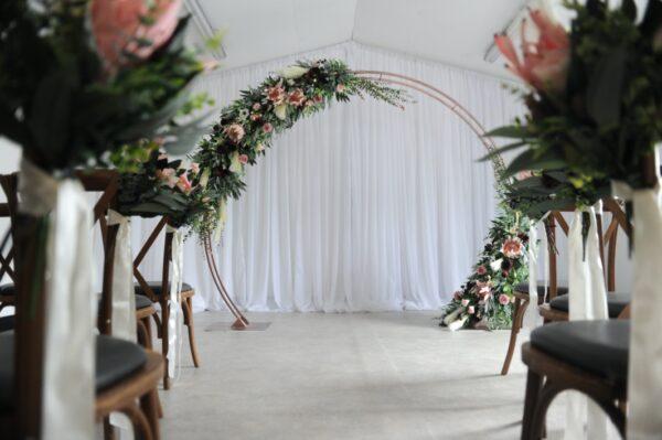 Burgundy boho floral arch wedding enniskillen northern ireland