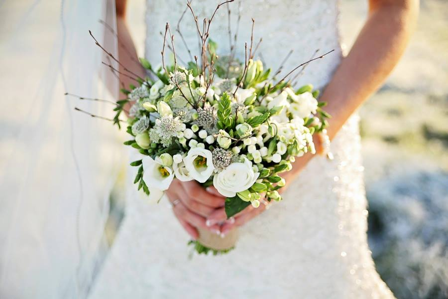 wedding bouquet wild twigs white flowers buds Co.Fermanagh