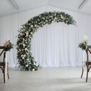 blush half moon wedding arch n.ireland