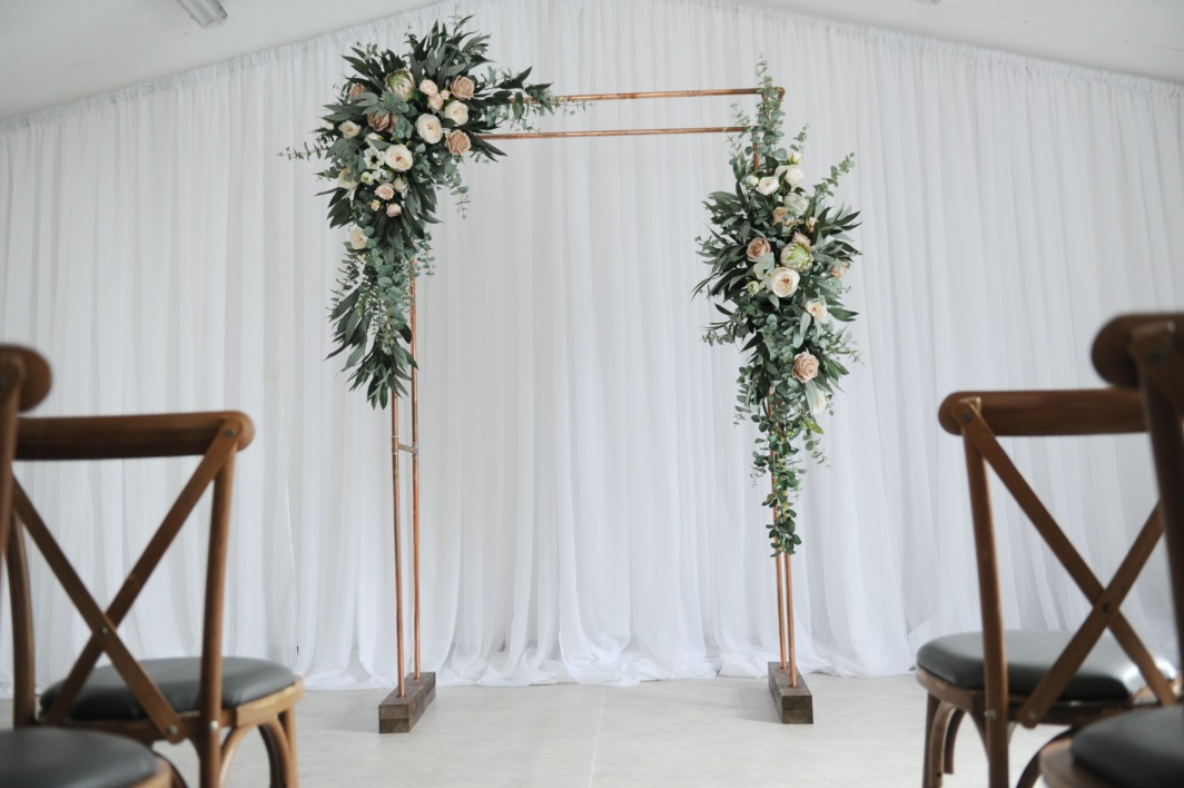 copper pipe frame wedding arch n.ireland decoration