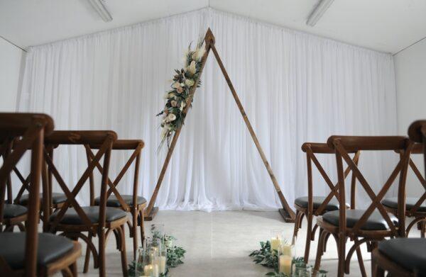 triangle floral arbor arch wedding northern ireland
