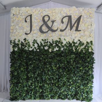 flower wall, green and white flower wall, floral ceremony decor, wedding decor, wedding decor ideas, Northern Ireland, Ireland, Fermanagh weddings