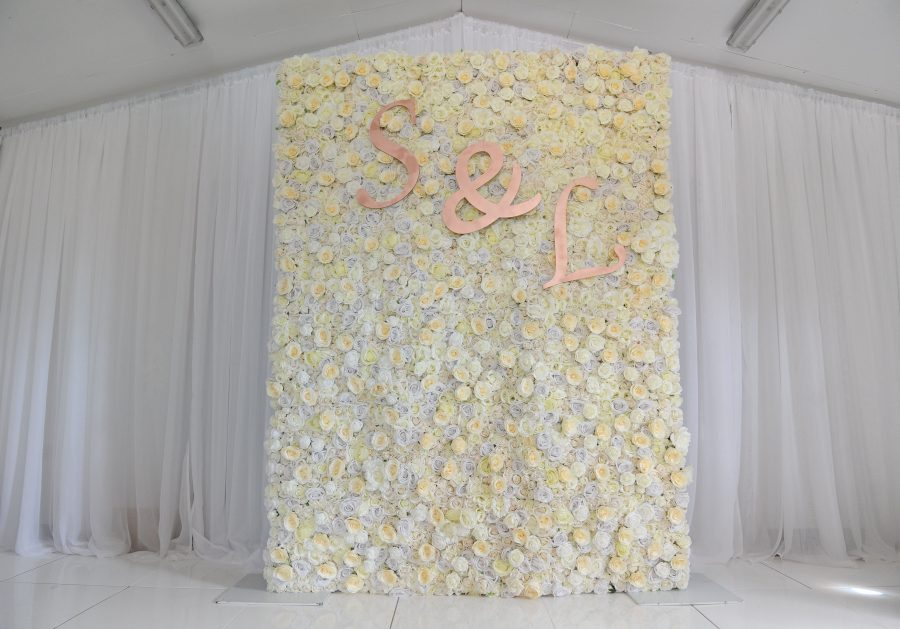 White flower wall, rose flower wall, wedding decor inspo, wedding decor ideas, wedding ceremony styling, venue styling, weddings NI, weddings Ireland, Fermanagh weddings