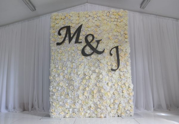 wedding ceremony northern ireland enniskillen fermanagh inspiration hire ni decor n.ireland cream rose wall
