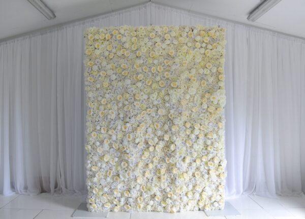 White flower wall, rose flower wall, wedding decor inspo, wedding decor ideas, wedding ceremony styling, venue styling, weddings NI, weddings Ireland, Fermanagh weddings
