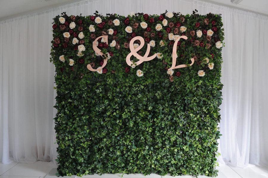 burgandy flower wall, flower walls ni, wedding decor inspo, wedding decor ideas, weddings ni, Northern Ireland Weddings, Ireland Weddings, Fermanagh weddings, venue styling, ceremony styling