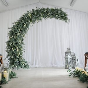 botanical half moon wedding arch n.ireland