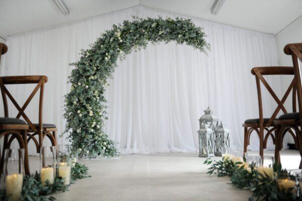 botanical half moon wedding arch n.ireland