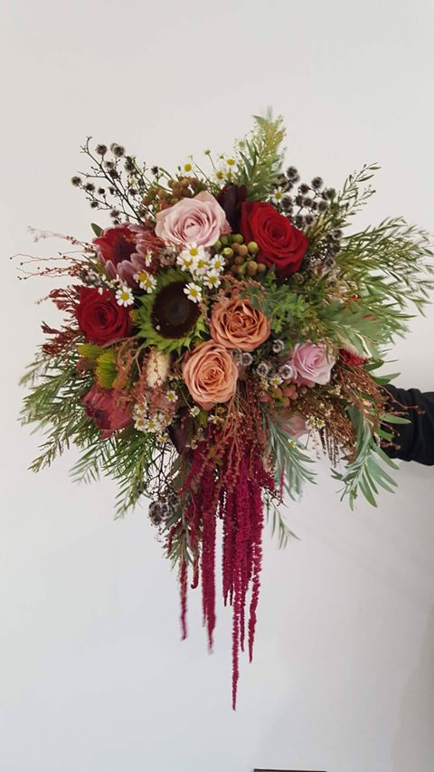 wedding bridal wild foliage pink red roses Fermanagh Northern Ireland