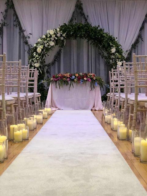 wedding ceremony northern ireland enniskillen fermanagh inspiration hire ni decor n.ireland glass aisle decor