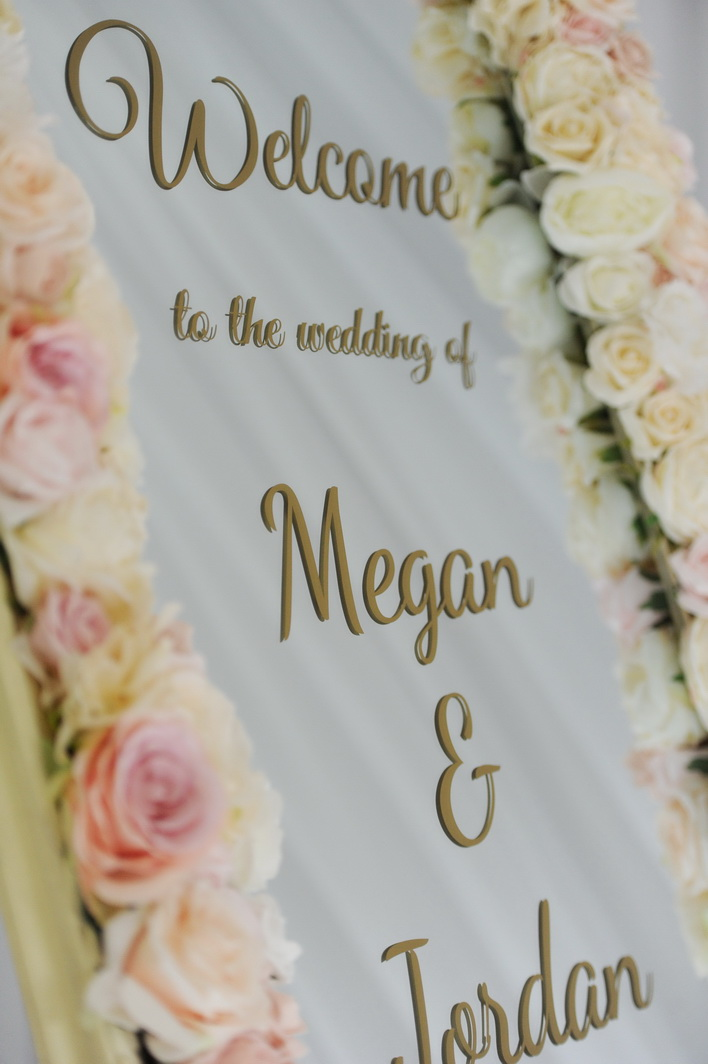 Blush floral personalised wedding sign ideas, Northern Ireland