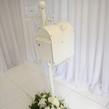 White wedding postbox ideas, venue decor ideas, wedding inspo, Northern Ireland