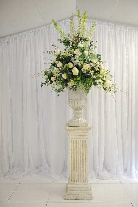Tall floral pedestals, ceremony decor ideas, wedding decor ideas, Northern Ireland weddings, Fermanagh weddings