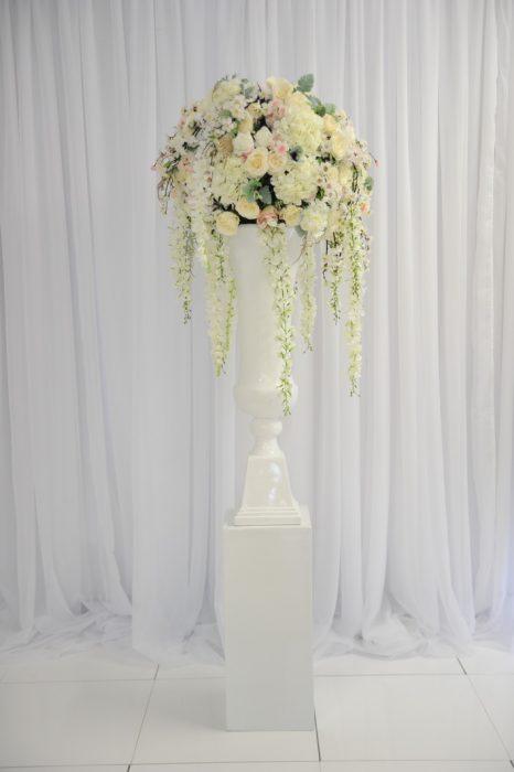 Blush floral pedestal - wedding hire range n.ireland