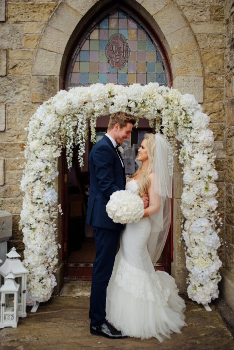 hired floral blossom arch, wedding arch hire, Northern Ireland, wedding ceremony decor, venue styling