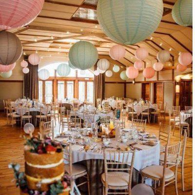 wedding venue decor, roof decor, lanterns, enniskillen wedding, Northern Ireland