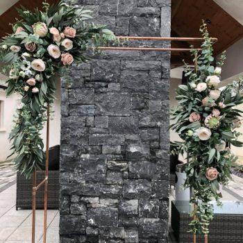 copper flroal wedding arch