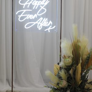 neon wedding sign with pampas grass