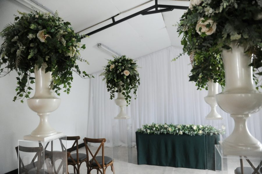 wild floral geometric display