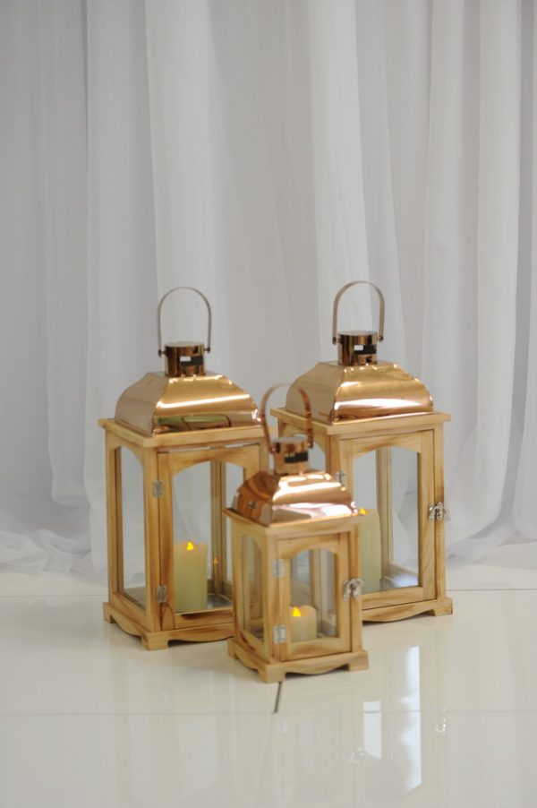wood finish copper lanterns