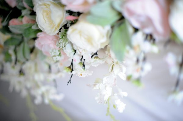 blush floral ceremony display
