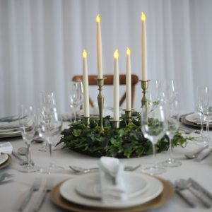 brass candlestick with foliage ring