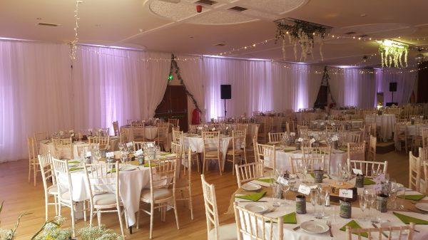 ballroom of romance venue draping wedding