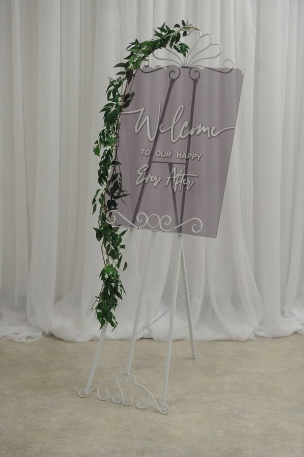 grey wedding sign with easel
