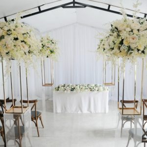 wild floral geometric aisle decor