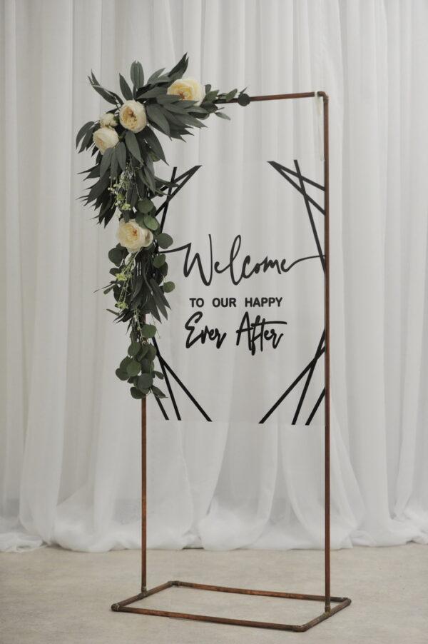 geometric copper frame wedding sign