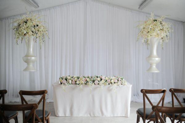 Blush floral display - ghost plinth 1