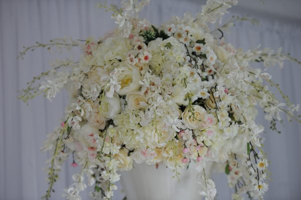 Blush floral display - ghost plinth