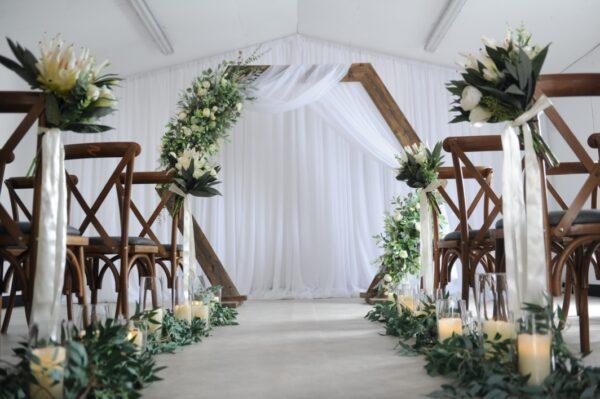 Hexagon floral arch