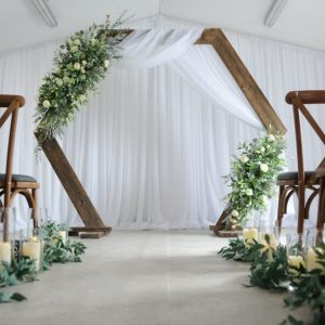 Hexagon floral arch