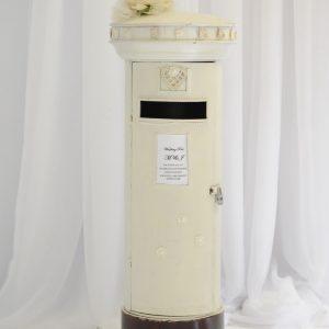 cream wedding postbox