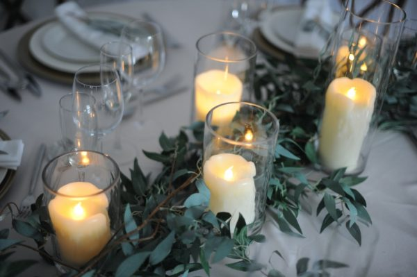 Trailing foliage and glassware