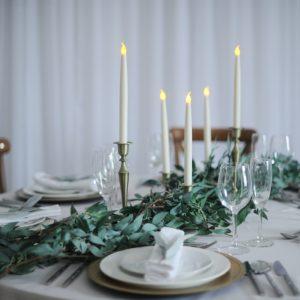 raling foliage and brass candlestick set