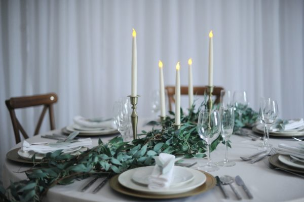 raling foliage and brass candlestick set